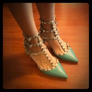 Valentino Rockstud kitten heel shoes
